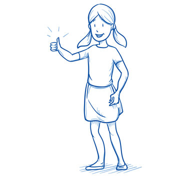Happy young girl showing thumb up. Hand drawn cartoon doodle vector illustration.