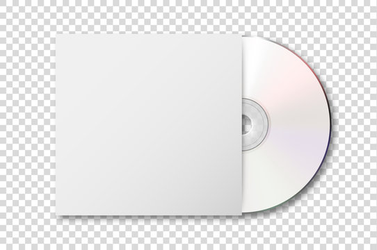 Vector realistic 3d white cd with cover icon isolated on transparency grid background. Design template of packaging mockup for graphics. Top view