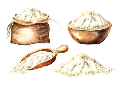 Flour set. Watercolor hand drawn illustration, isolated on white background