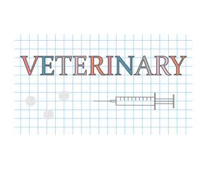 veterinary word on checkered paper sheet- vector illustration
