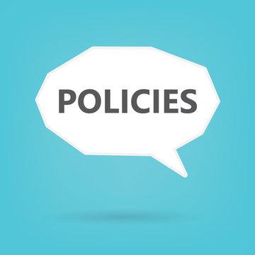 policies word on speech bubble- vector illustration