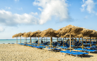 Empty beach early in the morning at Elafonisi Lagoon, Crete Island, Greece