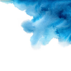 Hand painted blue watercolor background. Watercolor wash.
