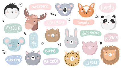 Vector set of cute doodle stickers with funny animals and text