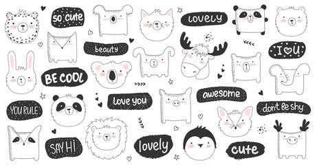 Vector set of doodle stickers with funny animals and cute text.
