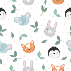 Vector seamless baby pattern with animals, branches, leaves