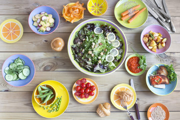 salad variations in colorful dishes