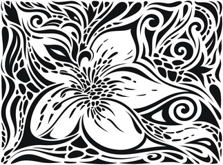 Decorative Flowers in Black & White, Floral decorative ornate Background tribal tattoo graphic design