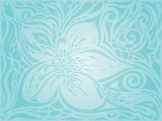 Flowers in Turquoise, green blue floral vintage holiday invitation background trendy fashion design