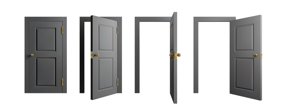 Doors set. Front view opened and closed door. Realistic isolated vector illustration.