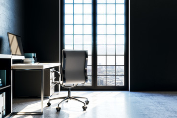 modern workspace with black wall