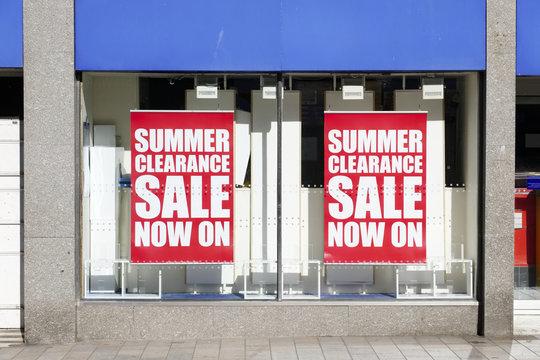 Summer sale clearance shop window sign banner high street shopping mall
