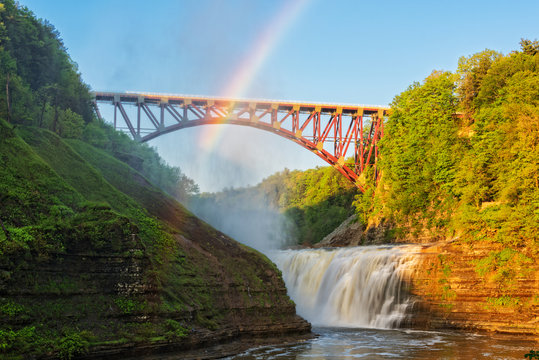 Rainbow Over The Arch At Letchworth State Park