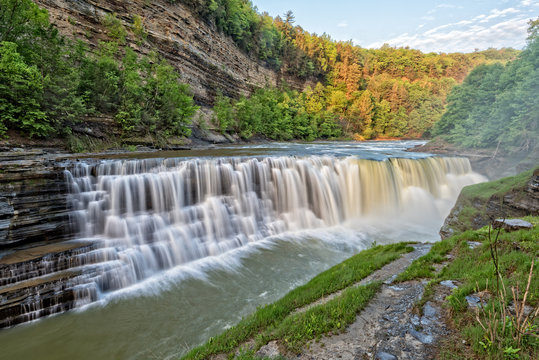The Lower Falls At Letchworth State Park