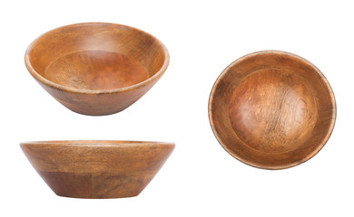 Round wooden bamboo bowl for kitchen