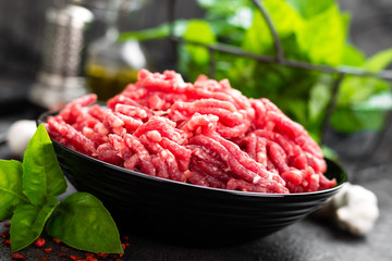 Raw ground beef meat. Fresh minced meat