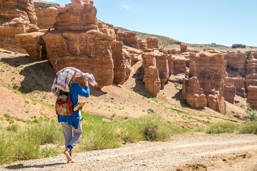 Amazing Sharyn Canyon - geological formation consists of sedimentary red sandstone. Charyn National Park. Kazakhstan. .