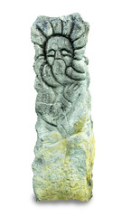 stone idol in the forest, pagan god, close-up