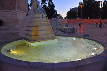 Rome,  fountain of the lions in Piazza of Popolo. Wall mural