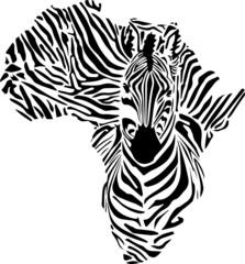 Afrika Karte als Zebra