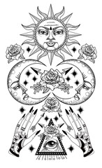 An ancient astronomical illustration of the sun, the moon, the stars, the rose, the eye