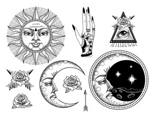 An ancient astronomical illustration of the sun, the moon, the stars, the rose