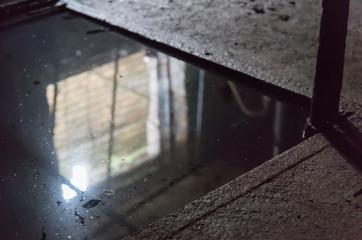 The dark corner of the pool