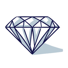 Diamond / cartoon vector and illustration, hand drawn, sketch style, isolated on white background.