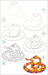 Page shows how to learn step by step to draw a cute snake. Developing children skills for drawing and coloring. Vector image.