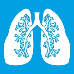 Lungs icon white isolated on blue background vector illustration