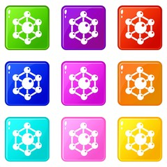 Chemical and physical atoms molecules icons of 9 color set isolated vector illustration