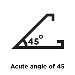 Acute angle of 45 degrees icon vector sign and symbol isolated on white background, Acute angle of 45 degrees logo concept