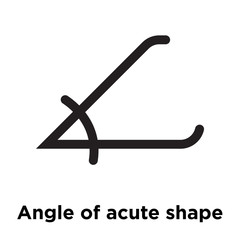 Angle of acute shape icon vector sign and symbol isolated on white background, Angle of acute shape logo concept