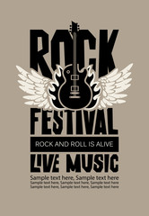 Vector poster or banner for Rock Festival of live music with an electric guitar, wings, fire and place for text. Rock and roll is alive