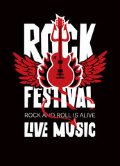 Vector poster or banner for Rock Festival of live music with an electric guitar, wings, fire and devil trident. Rock and roll is alive