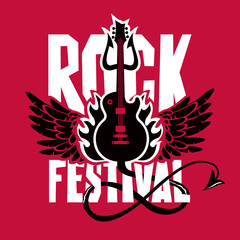 Vector poster or banner for Rock Festival with an electric guitar, wings, fire and devil trident on red background
