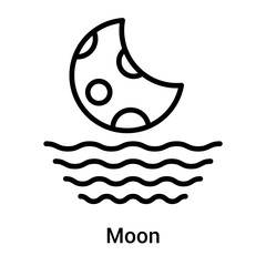 Moon icon vector sign and symbol isolated on white background, Moon logo concept
