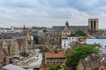 Ghent old town panorama