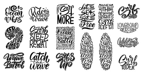 Set of Surf lettering quotes for posters, prints, cards. Surfing related textile design. Vintage illustration.