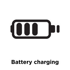 Battery charging status icon vector sign and symbol isolated on white background, Battery charging status logo concept