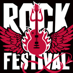 Vector poster or banner for Rock Festival with an electric guitar, wings, fire and devil trident on black background
