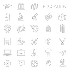 Thin line vector education icon set