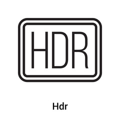 Hdr icon vector sign and symbol isolated on white background, Hdr logo concept