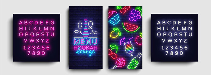 Hookah lounge menu design template vector. Hookah lounge typography modern trend design, vertical banners, nightlife neon advertising hookah. Vector Illustration. Editing text neon sign