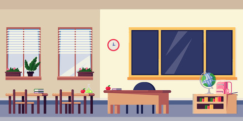 Empty classroom interior, vector flat illustration. School furniture and design elements. Back to school background