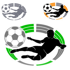 soccer emblem with a football player silhouette and ball on the background of the stadium or arena, black-green, black-yellow and monochrome image