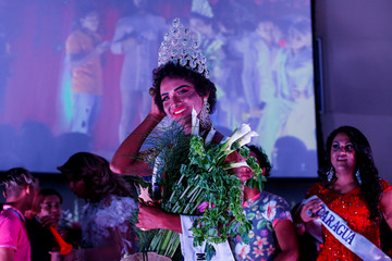 Newly crowned Miss Gay Daniela Simons poses for photographers at the end of the Miss Gay Nicaragua 2018 pageant in Managua