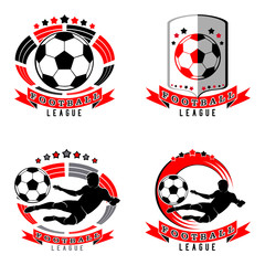 set of soccer logo with a ball, football silhouette, shield, arena, stadium. black and red image