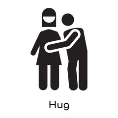 Hug icon vector sign and symbol isolated on white background, Hug logo concept icon