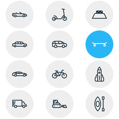 Vector illustration of 12 transport icons line style. Editable set of bike, mpv, snow removal car and other icon elements.